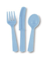 Baby Blue 24 Pack Cutlery