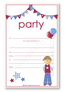 Blue Bunting Invitation