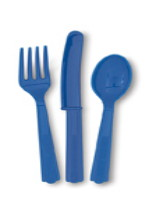 Navy Blue 24 Pack Cutlery