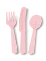 Pastel Pink 24 Pack Cutlery