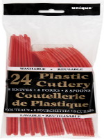 Red 24 Pack Cutlery