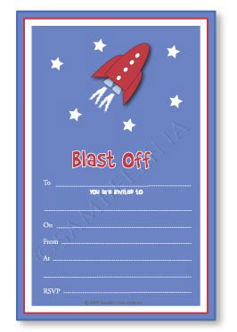 Space Rocket Invitations
